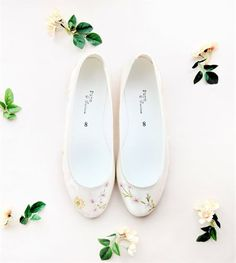 Handpainted rose and cherry blossom flat satin wedding shoes. Designed and made by Elizabeth Rose London Pump Shoes, Pumps, Flats, Satin Wedding Shoes, Queen, Painted Shoes, Best Day Ever, Low Heels, Wedding Accessories