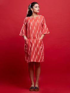 Red Ikat Dress Casual Cotton Dress, Cotton Dresses, Casual Dresses, Short Dresses, Fashion Dresses, Women's Fashion, Designer Wear, Designer Dresses, Casual Frocks