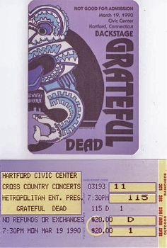Grateful Dead (Spring 1990 Box Set) Ticket stub and backstage pass for Hartford, CT, 3/19/1990