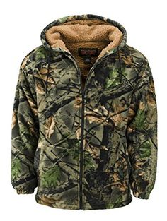 91c3c4457 Trailcrest Men's Sherpa Lined Fleece Camouflage Hunting jacket Medium  Highland Timber Pánska Móda, Štýlová Móda