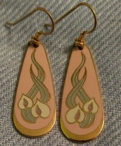 Laurel Burch WILD ANTHURIUM Cloisonne Gold Dangle Earrings Pink #LaurelBurch #DropDangle