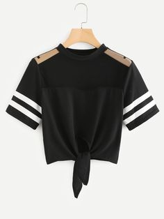 Mesh Panel Varsity Striped Crop Tee - Source by emmajanssende - Girls Fashion Clothes, Teen Fashion Outfits, Mode Outfits, Womens Fashion, Cute Girl Outfits, Cute Casual Outfits, Stylish Outfits, Belly Shirts, Crop Top Outfits