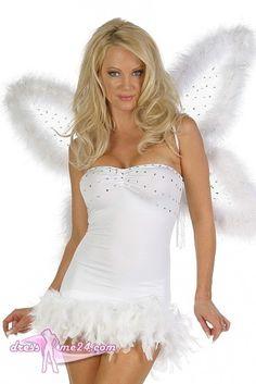 Besuche uns gern auch auf dressme24.com ;-) Sexy Angel Dress - Engel Kleid - Angel Dress - Engel Kleid. Kurzes trägerloses Stretch Microfaser Engelkleid mit Federsaum. Aufwändig mit Strasssteinchen verziert und einem exklusiven Federnabschluß. #Engelskostüm, #Damenkostüme