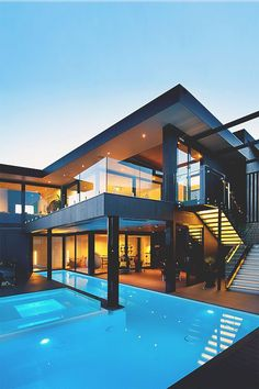 Modern architecture house design with minimalist style and luxury exterior and interior and using the perfect lighting style is inspiration for villas mansions penthouses Amazing Architecture, Interior Architecture, Luxury Homes Dream Houses, Dream House Exterior, Pent House, Modern House Design, House Rooms, Exterior Design, Future House