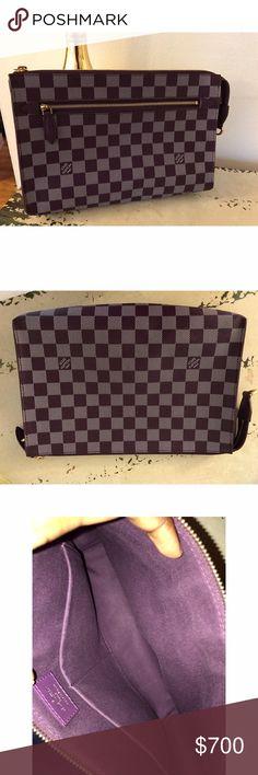 "Louis Vuitton Purple Damier Couleur Element Clutch * Overall Condition: Like new * Exterior Condition: Like new * Interior Condition: Like new * Designer: Louis Vuitton * Origin: France  * Production Year: 2013  * Measurements: 8"" L x 1.25"" W x 6"" H  * Interior Pockets: one zip pocket  * Closure: Single zip closure  * Interior Lining: Cross-grain leather lining  * Hardware: Goldtone Louis Vuitton Bags Clutches & Wristlets"