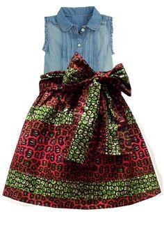 Abina African Print Full Skirt for Little Girls (Pink/Green Leopard Print)