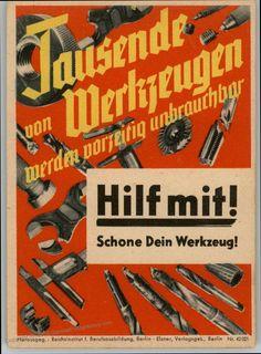 Image 1 of Germany WWII Material Savings Slogan Propaganda Placard Flyer