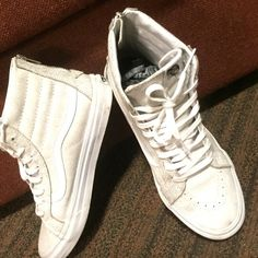Vans Shoes Mens size 8/ Women's size 9.5- Authentic Limited Edition White , High Top Cracked Vans. Worn 3 times. Bought at LA SkateShop on Fairfax! Vans Shoes Sneakers