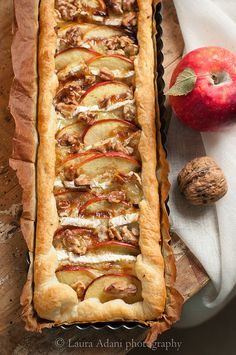 Apple savory cake with camembert and walnuts