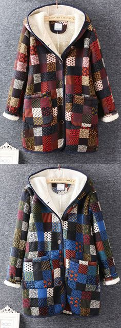 Plaid Printed Winter Thicken Long Sleeve Hooded Coats For Women