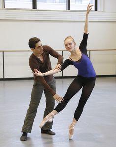 Justin Peck rehearsing with NYCB's Lydia Wellington. Photo by Paul Kolnik, Courtesy NYCB.