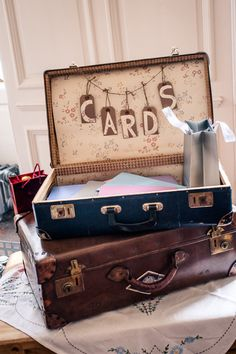 Vintage Suitcases for Wedding Cards