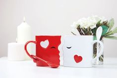 """Kissing Mug Set. Place these cute mugs together """"face to face."""" They'll flawlessly fit each other's contours to form the perfect kiss. What a sweet way to show your love for that special someone! Golden Wedding Anniversary Gifts, Perfect Kiss, Cute Mugs, Wedding Humor, Mugs Set, Love Gifts, Kissing, Funny Gifts, Valentines"""