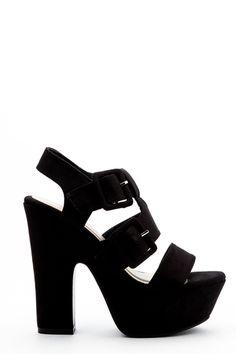 Buckle Strap Platform Sandal Heels