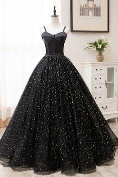 Princess Sweetheart Black Floral Tulle Long Sweet 16 Prom Dress, Graduation Dresses Black Evening Dresses, Black Prom Dresses, Formal Dresses, Dress Black, Dress Prom, Gothic Prom Dresses, Black Ball Gowns, Black Quinceanera Dresses, Floral Prom Dresses