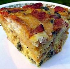 ALL THE BEST - Breakfast casserole.  Bacon, mushrooms, cheese, onions, eggs & hashbrowns... all in one glorious breakfast casserole! Melissa's shower/brunch idea