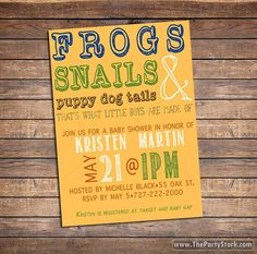 Printable Frogs, Snails and Puppy Dog Tails Invitation by The Party Stork. Perfect Baby Boy Shower Invitations. Games and decorations available in