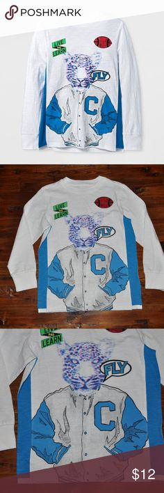 New CAT&JACK Boys Leopard Graphic Long Sleeve Tee size XS (4/5) new without tags color: white  @cjrose25  More kids clothes in my posh closet. Bundle your likes for a discount & save on shipping. Cat & Jack Shirts & Tops Tees - Long Sleeve