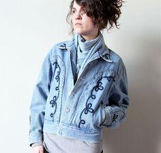 Western Denim Jacket 80s worn in blue jean Southwest chic rodeo cowboy coat, hipster boho hippie festival style