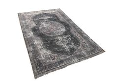 Vintage rug black/gray handmade and 40-60 years old. Check our rugs on the webshop!