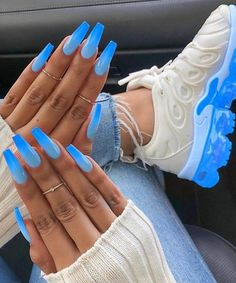 lenawinkels - 0 results for summer acrylic nails coffin Neon Blue Nails, Bright Summer Acrylic Nails, Blue Acrylic Nails, Acrylic Nail Designs, Nail Pink, Red Nail, Summer Nails, Best Nail Designs, Baby Blue Nails