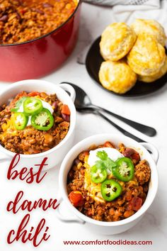 Our family's favorite chili recipe! It's hearty, packed with meat and beans and topped with sour cream and cheese. Plus - it makes amazing leftovers and freezes beautifully! #bestchilirecipe #chilirecipe #thebestchilirecipe #bestbeefchili #dinneerrecipe #easydinnerrecipe #chiliwithbeans #beefchili #awardwinningchili #chilicookoffwinner Best Damn Chili Recipe, Favorite Chili Recipe, Chili Recipes, Wine Recipes, Soup Recipes, Pepper Recipes, Vegan Recipes Easy, Easy Dinner Recipes, Easy Meals