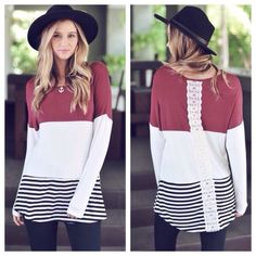 COLOR BLOCK TOP Color block long sleeve top with crochet  detail back. Small (2-4) medium 6(-8) large (10-12)... Fits true to size. PRICE FIRM UNLESS BUNDLE❗️ Tops Tunics