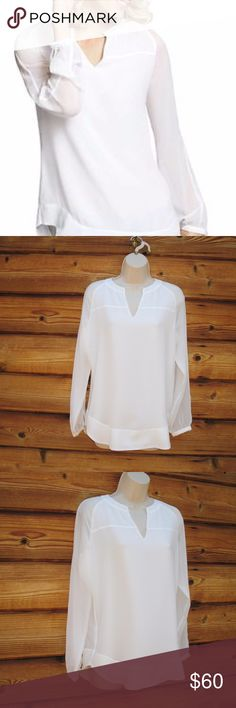 """NEW CAbi Allure Blouse Top XS CAbi Allure Blouse  *New without Tags  Details: CAbi Size: XS Color: White 100% Polyester Chiffon  Measurements: Length: 25"""" Bust: 38"""" Waist: 36"""" CAbi Tops Blouses"""