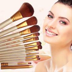12 pcs\Set New Women Professional Cosmetics Make Up Brushes For Powder Foundation Eyeshadow Lip Pincel Maquiagem Free Shipping