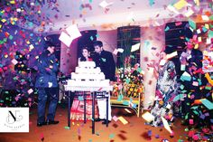 Confetti Pop at an Engagement Party! So colourful <3