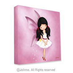 "Childrens room art, canvas print, angel fairy wall decor , Pink room decor, girls room wall art, nursery art, ready to hang, 12""x12"""