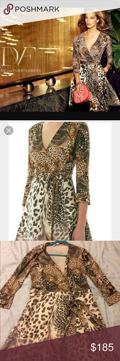 DVF Amelia Animal Print Fit & Flare Wrap Dress Beautiful fit and flare dress in animal print. Stunning dress. Worn, but still in good condition. Please ask any question you may have before bidding. Bought at Neiman Marcus. Thank you! Diane von Furstenberg Dresses Long Sleeve