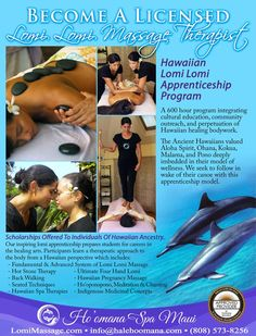 Makawao, HI Hawaiian Lomi Lomi Apprenticeship Training Program offers a part-time 600 Hour professional apprenticeship integrating Hawaiian healing bodywork and cultural education. Our program allows students… Click flyer for more >> Lomi Lomi, Massage Quotes, Massage Benefits, American Heart Association, Massage Techniques, Community Events, Chiropractic, Massage Therapy, Hawaiian