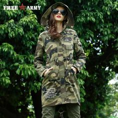Women Coat 2017 Spring Autumn Casual Camo Hooded Long Trench Coat Female Slim Green Solid Thin Outerwear  #ootn #shopnow #australianbrand #girl #streetstyle #photooftheday #withoutfilter #highfashion #fashionpost #LSN
