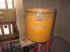Antique Large Metal Mustard Paint Sugar Bucket Canister Tin w Lid Fantastic | eBay