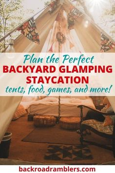 Do you need a vacation, but can't travel? Try a backyard glamping staycation. Glamping in the backyard is great for families, and even couples looking for a little romance. Here's our ultimate guide to backyard glamping! Camping With Kids, Family Camping, Go Camping, Family Travel, Camping Ideas, Camping Hacks, Kids Activities At Home, Outdoor Retreat, Outdoor Decor