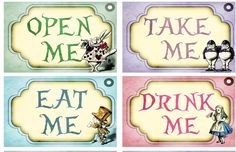 Eat me Drink me Take me Open me Alice in wonderland party wedding shower ribbon #handmade #Partyweddingsshowers