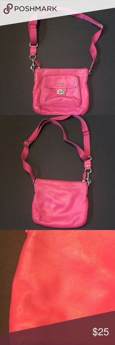 Hot pink leather coach crossbody Pink crossbody coach bag. Has some wear as shown in pics Coach Bags Crossbody Bags