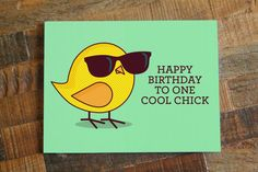 Happy Birthday to One Cool Chick  Bird Pun Bird by TinyBeeCards, $5.00