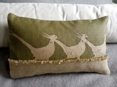 hand printed triple olive pheasant cushion £55.00