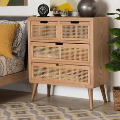 Baxton Studio Alina Mid-Century Modern Medium Oak Finished Wood & Rattan Accent Chest - Wholesale Interiors a fresh, retro feel in your bedroom with the Alina chest. This sturdy wood chest showcases a medium o 4 Drawer Dresser, Wicker Dresser, Wood Dresser, Wood Chest, Furniture Assembly, Wood Cabinets, Media Cabinets, Cupboards, Bedroom Furniture