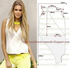 Blouse Pattern Free, Tunic Pattern, Blouse Patterns, Top Pattern, Blouse Designs, Free Pattern, Fashion Sewing, Diy Fashion, Ideias Fashion