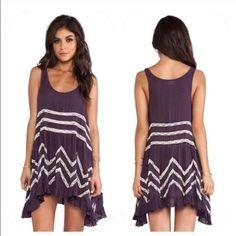 Free People Trapeze Purple Dress Flowy Hippie