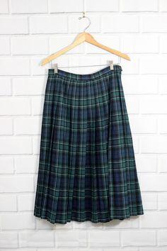 Vtg Pendleton Blue Maccallum Tartan Plaid Wool Pleated Circle Skirt Size 12  | eBay
