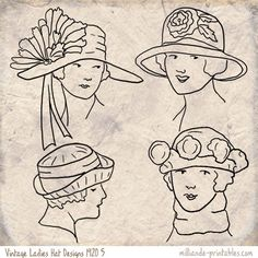 Vintage Womens Hat Design 1920 at www.milliande-printables.com/vintage-womens-hat-design-1920.html from our Printable vintage Ladies Hat Design Collection, free to print
