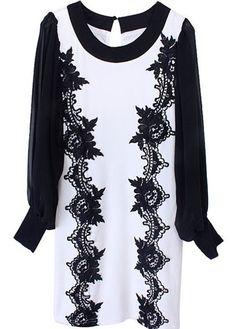 Black White Long Sleeve Lace Embroidery Chiffon Dress