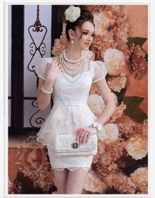 Wholesale Elegant & Trendy Pure Color Embroidery Splicing Waist Shaping Dress----White top dresses - perfect without the sleeves New Fashion, Girl Fashion, Style Fashion, Fashion Trends, White Lace Mini Dress, Lace Bows, Lingerie, Elegant Woman, Dress Collection