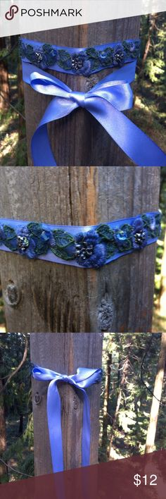 Upcycle periwinkle purple choker Upcycle periwinkle purple satin ribbon with embroidered flowers of periwinkle and green embellished with vintage bling and crystals, hand stitched. Wear as a choker tied in back or front, wear as a wrist wrap lariat or because it make boot bling, tie around your ankle or calf,a kreativekristen original, posh on girlfriend;) kreativekristen  Jewelry Necklaces
