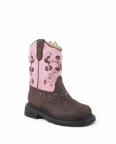 Infant's Western Boot With Lights On Vamp and Shaft Boot - Brown/Pink