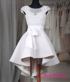 New Arrival Prom Dress,Sexy Prom Dress,Prom Dress,Simple white lace short prom dress,High low homecoming dresses PD20181961 #vintagepromdresses